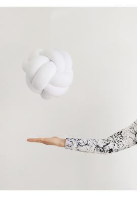 Smyčkový polštář v bílé barvě
