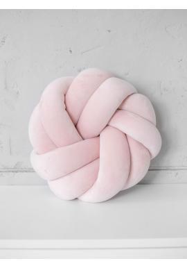 Smyčkový polštář Velvet v pudrově růžové barvě