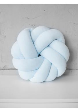 Pletený velurový polštář v beby modré barvě