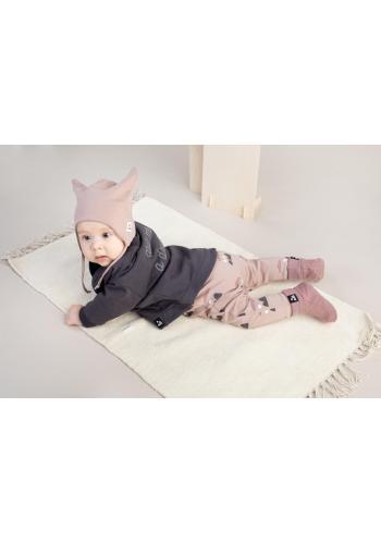 Bavlněné bačkůrky pro miminka v starorůžové barvě