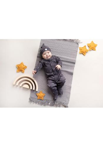 Bavlněný dětský overal s malými měsíčky v grafitové barvě
