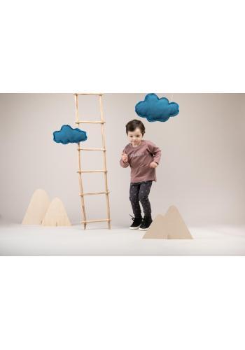 Stylové dětské tepláky grafitové barvy s drobnými měsíčky