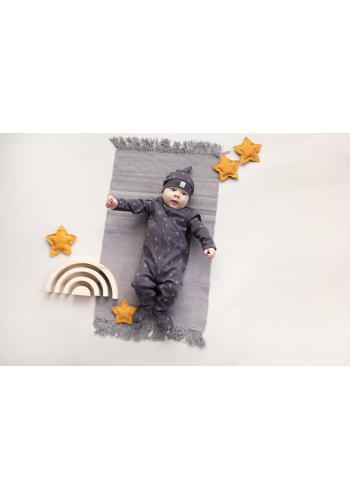 Bavlněná dětská čepice grafitové barvy s motivem měsíčků