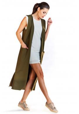 Dámská dlouhá vesta s kapsami v khaki barvě