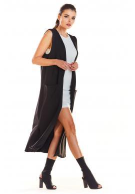 Dlouhá dámská vesta černé barvy s kapsami
