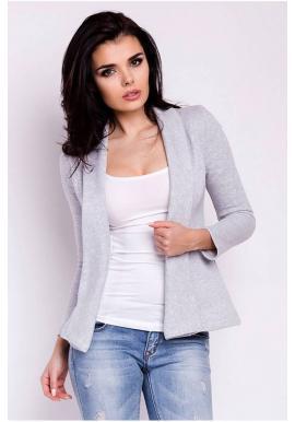 Dámské sako s dlouhým rukávem v šedé barvě