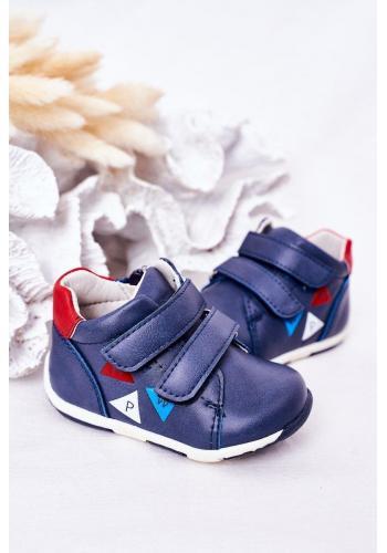 Stylové dětské kožené boty se suchým zipem v modré barvě