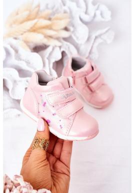Módní dětské kožené boty se suchým zipem v růžové barvě