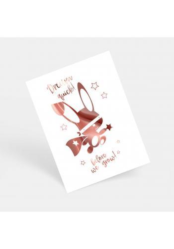 Bílý plakát se zrcadlovou grafikou růžového ninja králíka