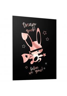 Černý dětský plakát se zrcadlovou grafikou růžového ninja králíka
