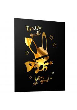 Dětský černý plakát se zrcadlovou grafikou zlatého ninja králíka