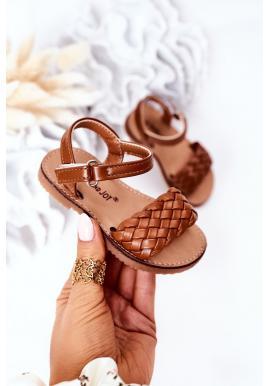 Dětské sandálky v hnědé barvě