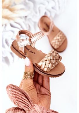 Stylové dětské sandálky v zlaté barvě