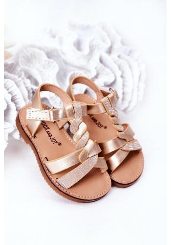 Módní dětské sandálky ve zlaté barvě