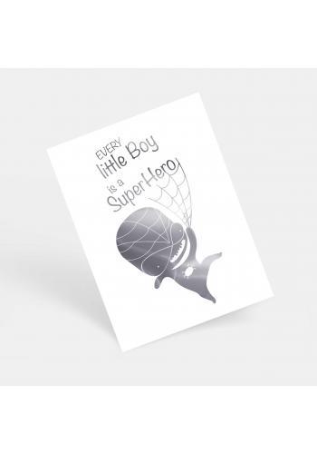 Dětský bílý plakát se zrcadlovou grafikou stříbrného Spidermana