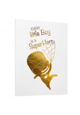 Dětský bílý plakát se zrcadlovou grafikou zlatého Spidermana