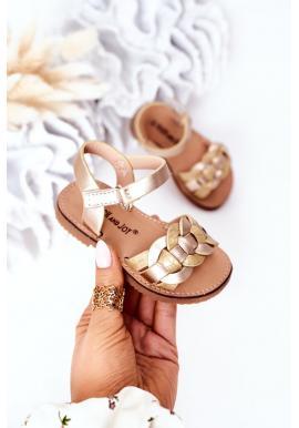Trendy dětské sandálky ve zlaté barvě