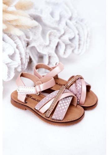 Trendy dětské sandály s flitry Black Becky v růžové barvě