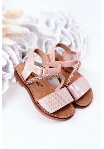 Stylové dětské sandály s flitry v růžové barvě