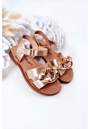 Dětské sandály s řetízkem ve zlaté barvě