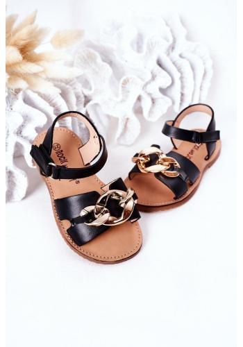 Stylové dětské sandály s řetízkem v černé barvě