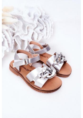 Trendy dětské sandály s řetízkem ve stříbrné barvě