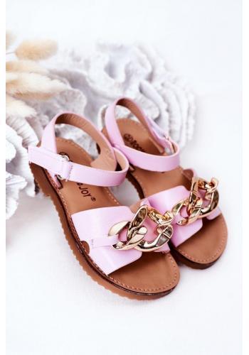 Módní dětské sandály s řetízkem v růžové barvě