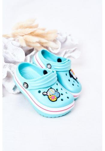 Stylové dětské gumové pantofle v modré barvě