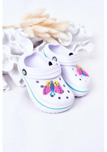 Trendy dětské gumové pantofle v bílé barvě