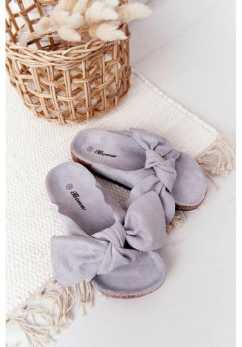 Módní dětské pantofle v šedé barvě