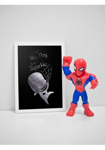 Dětský černý plakát se zrcadlovou grafikou stříbrného Spidermana