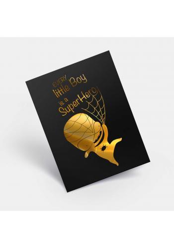 Černý plakát se zrcadlovou grafikou zlatého Spidermana