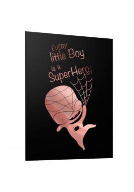 Černý dětský plakát se zrcadlovou grafikou růžového Spidermana