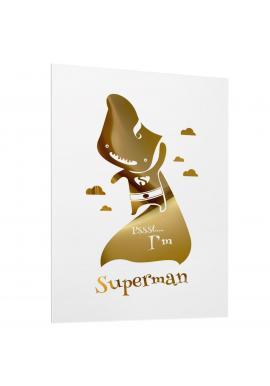 Bílý plakát se zrcadlovou grafikou zlatého Supermana