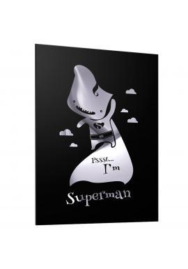 Černý plakát se zrcadlovou grafikou stříbrného Supermana