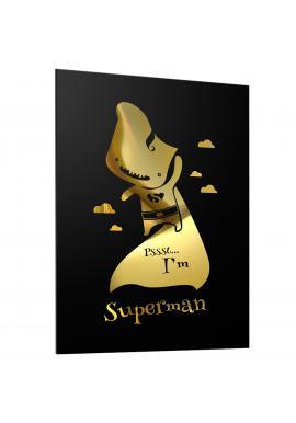 Černý plakát pro děti se zrcadlovou grafikou zlatého Supermana