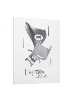 Detsky bílý plakát se zrcadlovou grafikou stříbrného Batmana