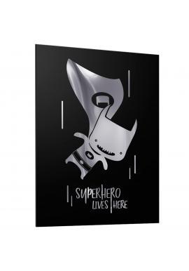 Dětský černý plakát se zrcadlovou grafikou stříbrného Batmana