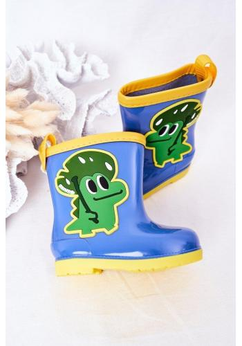 Trendy dětské gumáky s krokodýlem v modré barvě