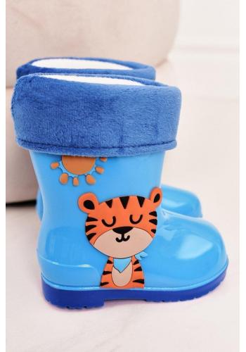 Stylové dětské gumáky s tygrem v modré barvě