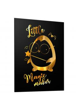 Černý plakát pro děti se zrcadlovou grafikou zlatého tučňáka