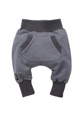 Stylové šedé dětské tepláky s kapsou na přední straně