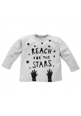 Bavlněná dětská halenka šedé barvy s nápisem a hvězdičkami