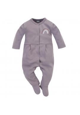 Dětský overal na spaní v zajímavém odstínu šedé s pastelovou duhou