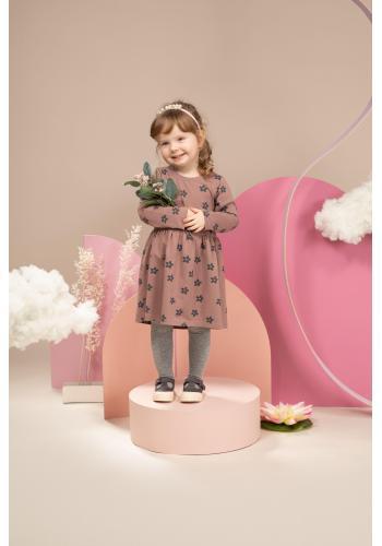 Elegantní holčičí růžové šaty s květinami