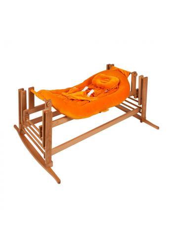 Kolébka DREAMER Premium pro miminka s oranžovým matrací - přírodní buk