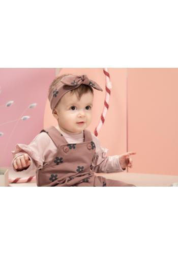Růžová čelenka pro holčičku s ozdobnou mašlí a květinami