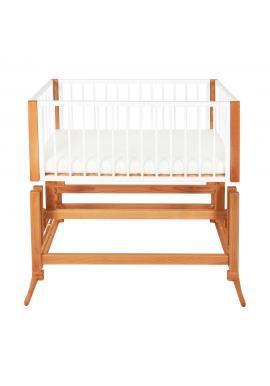 Dřevěná kolébka DREAMER Premium pro miminka s oranžovým matrací - bílý buk