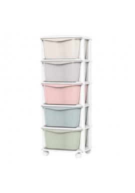 Plastový regál na kolečkách s barevnými šuplíky