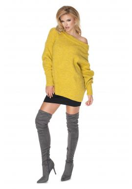 Módní dámský oversize svetr ve žluté barvě